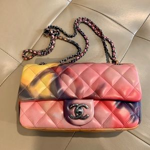 chanel flower power classic quilted small flap bag